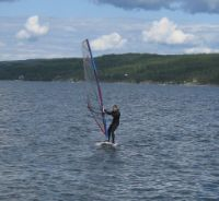 I learnt basic wind-surficing the first summer and crossed Bundefjorden during the second.
