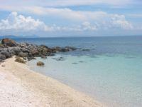 Sandy beach on Sombrero Island.