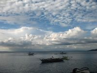 Moored bankas in Balayan Bay.