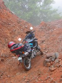 The 650 cc Yamaha Tenere is a reliable workhorse, but this road got too tough.