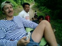 Riding on top of a jeepney up the Chico river valley in Kalinga province.
