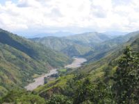 View from the Aritao road, the eastern approach to Baguio. The road is drivable, but rough and difficult to ride. I had to negotiate a wide and deep river crossing, was snapped at by a cobra, and chased by a mad, frothing dog for quite a distance.